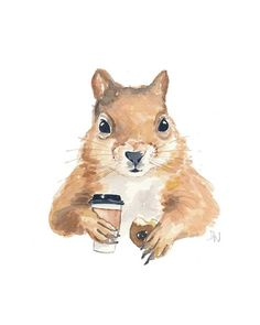 Squirrel Painting Watercolor Original - Coffee, Donut Art, Animal Illustration, from WaterInMyPaint on Etsy. Watercolor Animals, Watercolor Paintings, Watercolour, Squirrel Art, Coffee Painting, Whimsical Art, T Rex, Painting Inspiration, Painting & Drawing