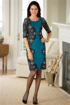 "Chadwick""s Lace-Border-Ponte-Dress - on sale! Very flattering!"