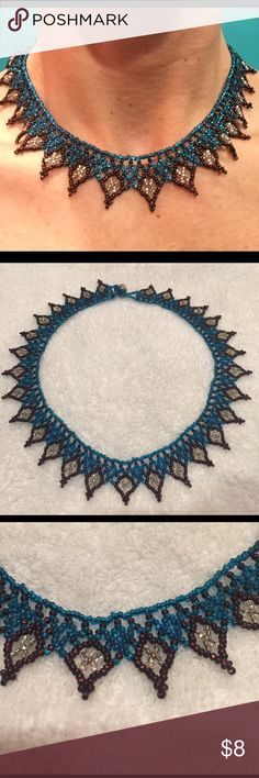 Beautiful beaded choker necklace Blue and maroon beaded choker necklace. Vintage and unique. Jewelry Necklaces