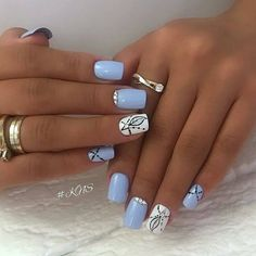 We have found 40 of the very best nail art designs for you! All of these nail art designs feature unique designs and beautiful displays of art. Being able to provide art on your very own nails speaks volumes on how you keep up with your own appearance. Elegant Nail Designs, Cute Nail Art Designs, Light Blue Nail Designs, Shellac Nails, My Nails, Nail Polish, Fancy Nails, Pretty Nails, Luxury Nails