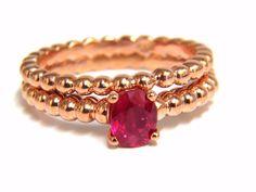 .82ct natural vivid bright ruby solitaire ring & band 14kt