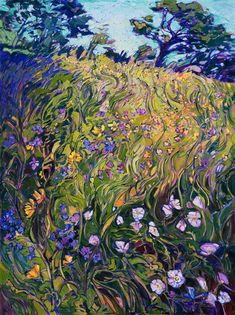 $10,800 30 x 40 Collect impressionist artwork - wildflowers painting by modern impressionist Erin Hanson, from San Diego California