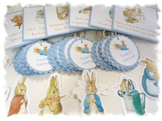 PETER RABBIT Beatrix Potter Party Package 3 - Food Table Signs, Favor Tags, Cutout Characters, Name Banner, Bunting. $77.00, via Etsy.