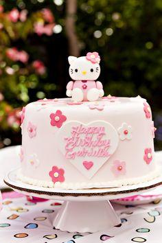 Beautifully decorated Hello Kitty birthday cake