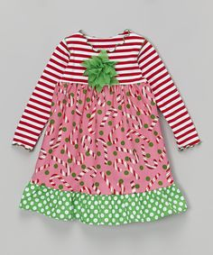 Pink Candy Cane Ruffle Dress - Toddler & Girls | zulily