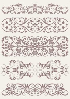 Illustration of vector set vintage ornate border frame filigree with retro ornament pattern in antique baroque style arabic decorative calligraphy design vector art, clipart and stock vectors. Border Pattern, Border Design, Pattern Art, Pattern Design, Arabic Pattern, Stencil Patterns, Stencil Designs, Embroidery Patterns, Machine Embroidery