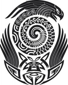 Mask and eagle with artistic pattern for a beautiful tribal full back tattoo fit for a strong bold personality.