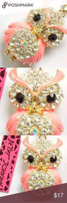 New Betsey J pink owl necklace New Betsey Johnson pink owl necklace and pendant  See size last picture Betsey Johnson Jewelry Necklaces