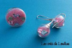 Parure globe microbile et fimo rose : Parure par les-crea-de-louline