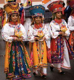 Ecuador. Women in traditional dress.