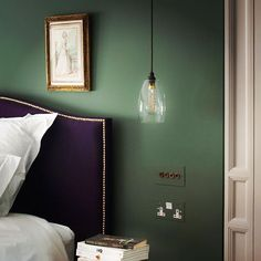 If you need us, well be dreaming about this beautiful bedroo Warm Bedroom Colors, Bedroom Colour Palette, Bedroom Green, Green Rooms, Master Bedroom, Green Paint Colors, Paint Colors For Home, House Colors, Farrow Ball