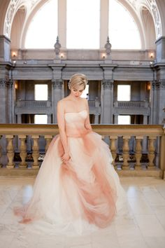 Glam Pink Ombre Ballgown For A Civil Ceremony Elopement At San