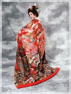 Uchikake can be any color, but the most traditional color is red. Rich in fine embroidered patterns, the uchikake is embellised with scenes of flowers, cranes, pines, flower carts or nature motifs. --- Japanese Wedding Kimono
