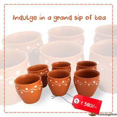 Enjoy your tea/milk espresso/soup in this finely coated hand painted kullad. #Homedecor #Classyplus #TeaTime https://goo.gl/FAzS2G