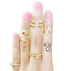 Midi rings tribal! paquetito con 7 piezas, $49