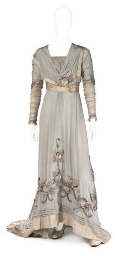 Silk Chiffon Dress, ca. 1900-10  [The full-length ruched sleeves date this dress specifically to 1909.]