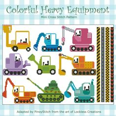 Colorful Heavy Equipment is a collection of 9 heavy vehicles with 4 borders. Stitch them individually or create your own transportation sampler.