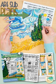 "Teach your students about line variety while studying Vincent Van Gogh and his famous ""Wheat Field with Cypresses"" painting. This art lesson is great for kids in 3rd grade and up and takes two, 40 minutes periods to complete. The best part? It's created with a roll of the dice. Come see for yourself! 
