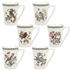 Botanic Birds Mug Set of 6