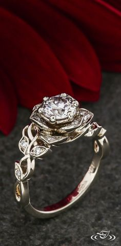 Rose Halo Engagement Ring with Diamond Leaf Vines. Green Lake Jewelry 118999