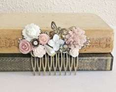 Blush Pink Hair Comb Wedding Hair Accessory Soft Pink Bridal Head Piece Pastel Pink White Flower Hair Pin Butterfly Powder Pink Floral PM