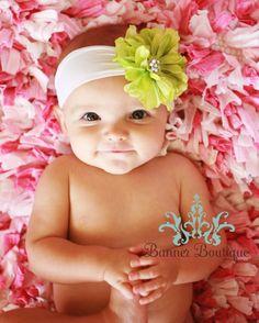 Lime Green Flower Headband, Newborn Headband, Soft Headband, White Headband, All Sizes Available, Rhinestones. $11.95, via Etsy.