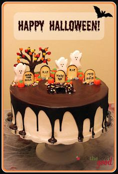 Cute Halloween cake using ghost peeps, Milano tombstones and harvest mix pumpkins. (Recipe and instructions included)