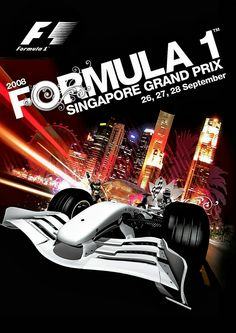 2008 Singapore GP poster.  Fernando Alonso piloted his Renault to a controversial victory in the inagural Singapore Grand Prix, Formula 1's first night race.  The Renault F1 team ordered Nelson Piquet Jr. to crash deliberately during the race to gain a sporting advantage for his Renault team-mate Alonso. The Renault F1 team was handed a disqualification from Formula One for their actions in the race, but the DQ was suspended for two years pending any further comparable rule infringements.