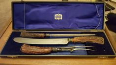 antique harrods stag handle carving set in by CHRYSTALPRISCILLA