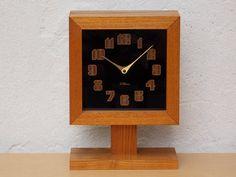 Mid Century Ti-Chron Square Oak Black Mantel Clock on Pedestal