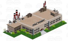 Large Factory Building With Smoke Stacks On Top #business #city #factory #industrial #manufacture #plant #urban #workshop