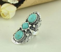 Retro European Style Artificial Turquoise Embellished Long Ring YW15031910.http://www.clothing-dropship.com