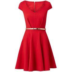 Closet Red V Neck Cap Sleeve Belted Skater Dress (94 BRL) ❤ liked on Polyvore featuring dresses, red dresses, red dress, holiday cocktail dresses, red cocktail dress, cocktail mini dress and skater dress