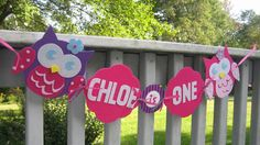 Soheilie's Birthday????? Cute!!!   Owl Blossom Inspired Highchair Banner by Quax on Etsy, $15.00