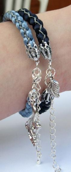 Ice Blue and Silver Chinese Style Kumihimo Bracelet - Blue Satin Cord by Jersica