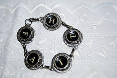 Typewriter Key Bracelet  Inspirational Jewelry.  by JustWearThese