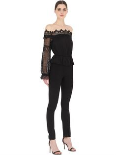 SELF-PORTRAIT - OFF SHOULDER LACE & GEORGETTE JUMPSUIT - LUISAVIAROMA - LUXURY SHOPPING WORLDWIDE SHIPPING - FLORENCE