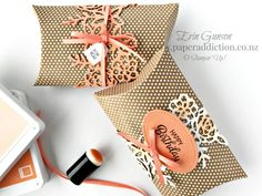 Springtime Impressions Kraft Pillow Boxes. Stampin Up Demonstrator NZ Erin Gunson as Paper Addiction.