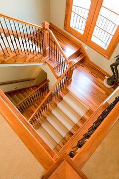 Quarter landing space saving staircases living design for Quarter landing staircase