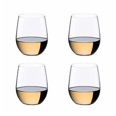 "Riedel O Wine Tumbler Viognier/Chardonnay, Set of 4  The Riedel ""O"" Crystal Wine Tumbler 3 + 1 Viognier/Chardonnay Gift Set is a special pay 3 get 4 offer. This is a fun and casual way to enjoy your varietal wines in its specifically designed tumbler to enhance all of your sensories and enables you to enjoy your favorite beverage at its fullest potential. New for 2014, produced in lead-free crystal New for 2014, produced in lead-free crystal Machine-blown, pay 3 get 4 New for 2014, p.."