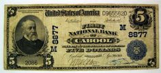 cabool,mo   Cabool Missouri $5 1902 Five Dollar National Bank Note Plain Back Low ...