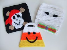 Crochet Pattern for Halloween trick or treat bags.  Crochet pattern for mummy, candy corn and pirate.  Pattern can be found at: http://crochetvillage.com//
