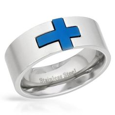 Blue Cross & Stainless Steel Band
