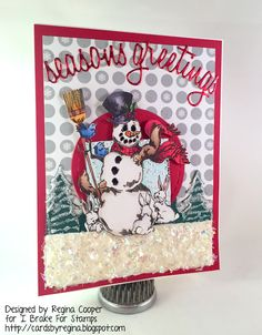 I Brake For Stamps: Frosty and Friends ... handmade winter Christmas card.