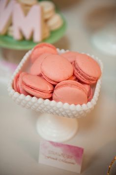 French Macarons in Vintage Glassware | Marisan Photography | TheKnot.com