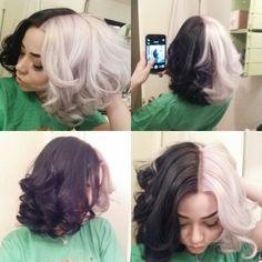Cruella DeVil two toned hair Half Colored Hair, Half And Half Hair, Half Dyed Hair, Split Dyed Hair, Two Toned Hair, Multicolored Hair, Corte Y Color, Hair Color For Black Hair, Black White Hair
