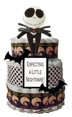Expecting a little Nightmare Diaper Cake by CRTDByMszCameraChick, $105.00