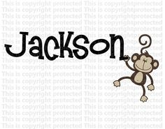 Boy or Girl Custom Name With Monkey Happy Monkey Jungle Friends Wall Monkeys Vinyl Personalized Baby  Wall Decal F via Etsy