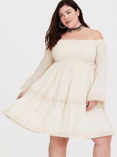 7d095353a0c65 Plus Size Sand Smocked Off Shoulder Mini Dress