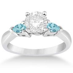 Pear Cut Three Stone Aquamarine Engagement Ring 14k White Gold (0.50ct) -Allurez.com